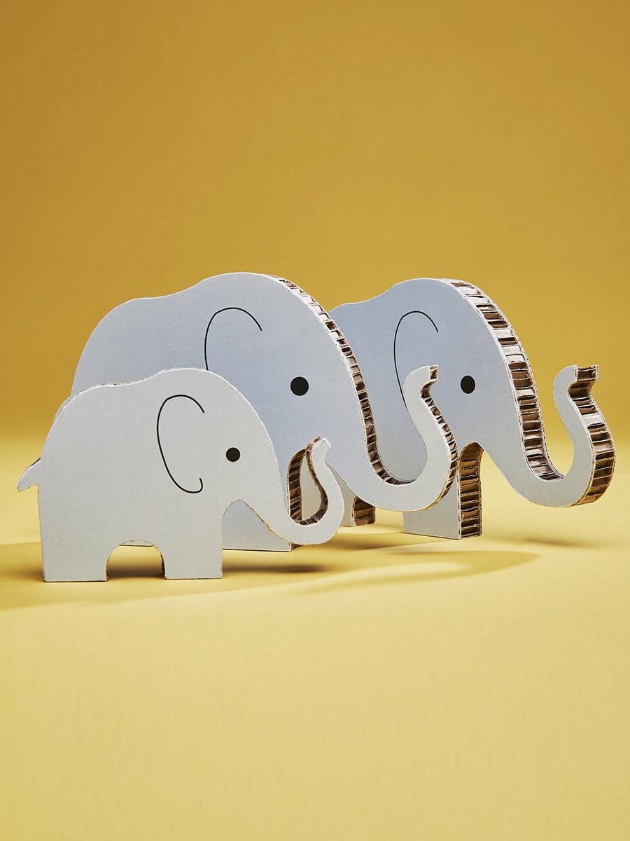 elefantini in cartone alveolare per bimbi