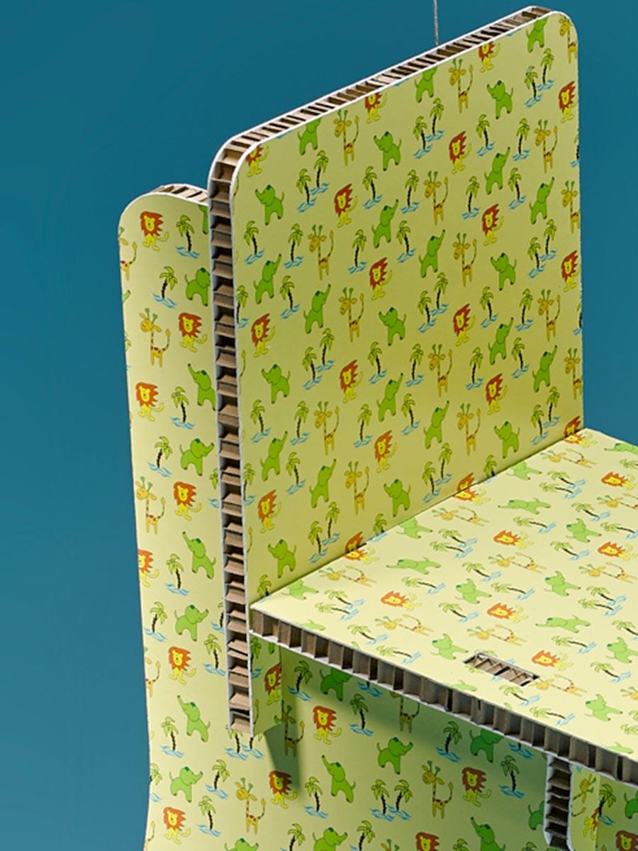 sedia per bambini in cartone alveolare